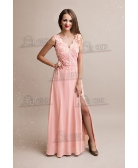 the latest 82c4c 3f9cb Abito in Chiffon Rosa Cipria con Spacco