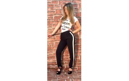 Pantalone nero con bande bianche