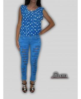Jeans blu elettrico strappato avanti e dietro